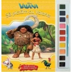 Sa pictam cu Vaiana - Carte de colorat cu pensula si acuarele imagine