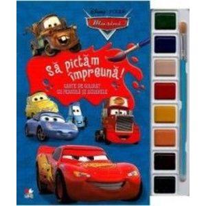 Disney Masini. Sa pictam impreuna Carte de colorat cu pensula si acuarele imagine