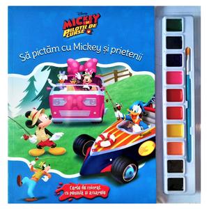 Disney. Mickey și piloții de curse. Să pictăm cu Mickey și prietenii. Carte de colorat cu pensulă și acuarele imagine