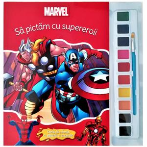 Marvel. Să pictăm cu supereroii. Carte de colorat cu pensulă și acuarele imagine