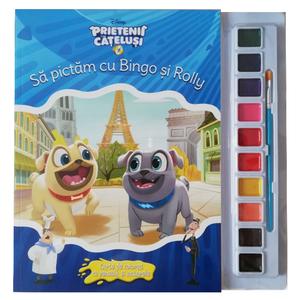Disney. Prietenii Cățeluși. Să pictăm cu Bingo și Rolly. Carte de colorat cu pensulă și acuarele imagine